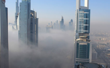 The new, HD 'live' webcam of Four Points Sheraton on Sheikh Zayed Road captures the fog. (Supplied)