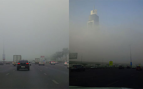 Fog sweeps across Dubai this morning. (Bindu Rai)