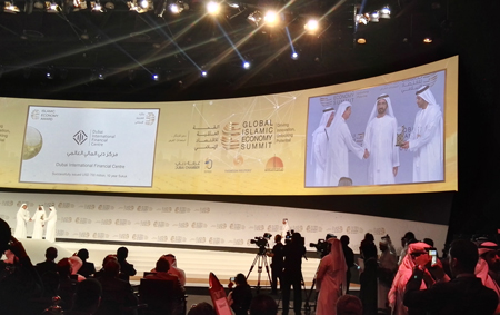 Sheikh Mohammed bin Rashid Al Maktoum at the Global Islamic Economy Summit in Dubai on Monday. (DGMO)