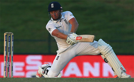 England's Jonny Bairstow plays a shot during the fifth and final day's play of the first cricket Test match between Pakistan and England at Zayed International Cricket Stadium in Abu Dhabi on October 17, 2015. (AFP)