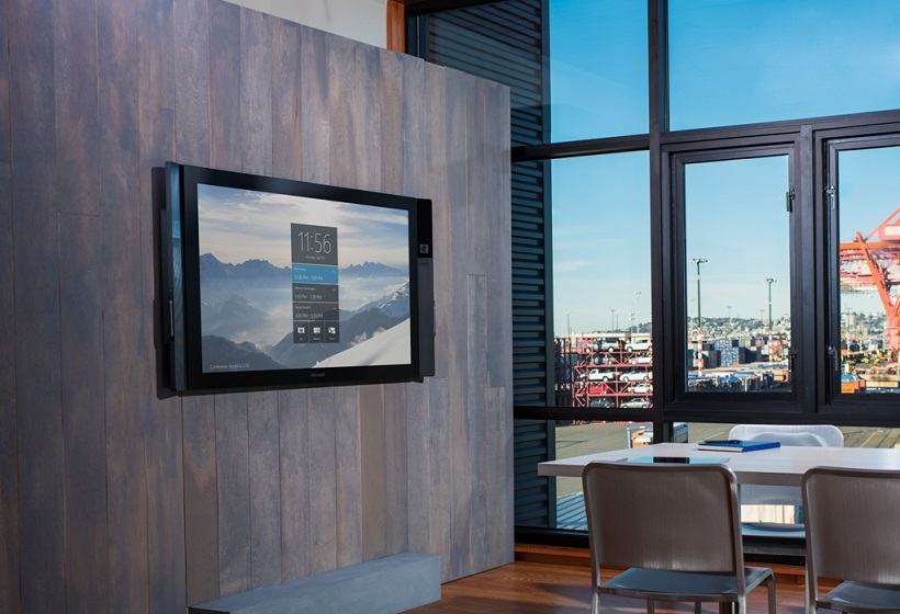 Microsoft yesterday unveiled its new large-screen collaboration device, Surface Hub. (Supplied)