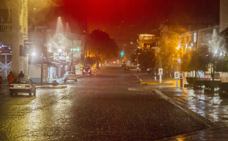 View of the street during the arrival of hurricane Patricia in Puerto Vallarta, Mexico on October 23 ,2015. Monster Hurricane Patricia roared toward Mexico's Pacific coast on Friday, prompting authorities to evacuate villagers, close ports and urge tourists to cancel trips over fears of a catastrophe. The US National Hurricane Center called Patricia the strongest eastern north Pacific hurricane on record. It said the storm will make a potentially catastrophic landfall later Friday in southwestern Mexico. (AFP)