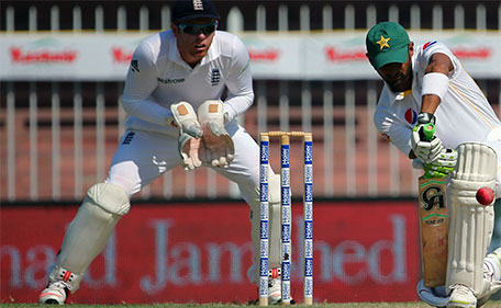 Pakistan's Shoaib Malik plays a shot during the first day of the third Test cricket match between Pakistan and England in the Gulf Emirate of Sharjah on November 1, 2015. (AFP)