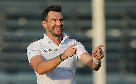 England's James Anderson celebrates the wicket of Pakistan's Misbah ul Haq during the Third Test Pakistan v England at Sharjah Cricket Stadium, United Arab Emirates - 1/11/15. (Action Images via Reuters)