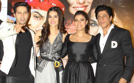 (R-L) Bollywood actors Shah Rukh Khan, Kajol, Kriti Sanon and Varun Dhawan at the release of 'Dilwale' at an event in Mumbai on November 9. (Supplied)