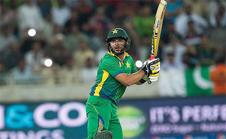 Shahid Afridi smashed an 8-ball 24 against England in the second T20 international at Dubai International Stadium on Friday. (AFP)