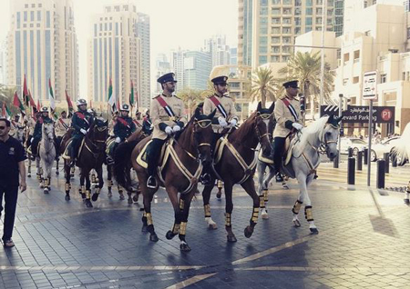 downtowndubai @ Instagram: Proudly kicking off the #ParadeDowntown on #MBRBlvd with more than 4000 participants from around the world. Happy National Day #UAE44 #MyDubai