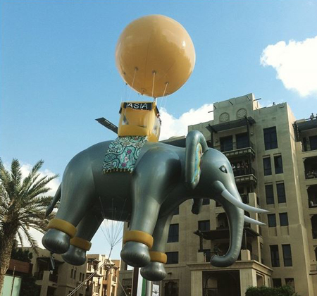 downtowndubai @ Instagram: The #Asian #Elephant floating on the #MBRBlvd celebrating #UAE44 #ParadeDowntown