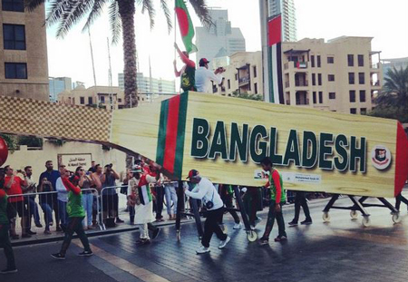 Downtowndubai @ Instagram: The #Bangladesh team walking on #MBRBlvd for the #ParadeDowntown #UAE44