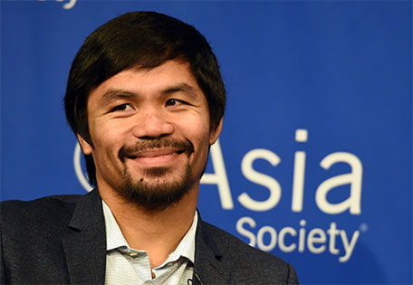 This October 12, 2015 file photo shows boxer Manny Pacquiao as he speaks to reporters after touring the Asia Society in New York. (AFP)