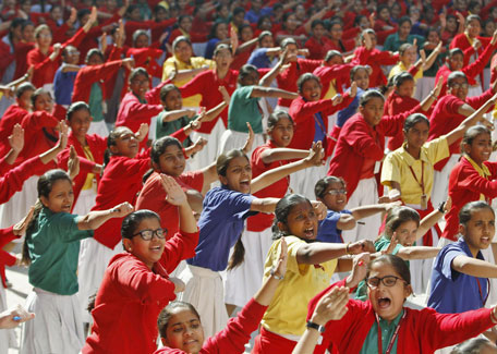 Schoolgirls practice martial arts during an event in Ahmedabad, India, December 16, 2015, to mark the third anniversary of the fatal gang rape of a woman on a Delhi bus in December 2012.  (Reuters)