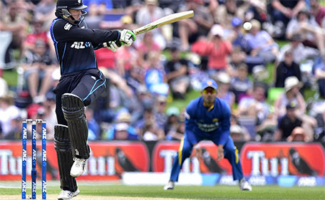 Martin Guptill of New Zealand plays a shot during the second one day international between New Zealand and Sri Lanka at Hagley Park in Christchurch on December 28, 2015. (AFP)