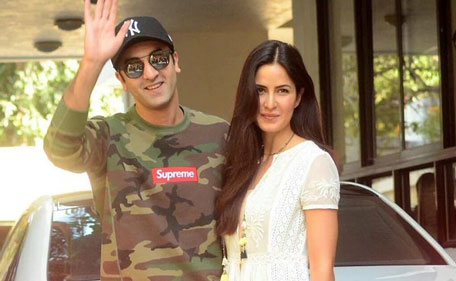 Bollywood actors Ranbir Kapoor and Katrina Kaif attend the annual Kapoor Christmas brunch held at Sashi Kapoor's house. (Sanskriti Media and Entertainment)