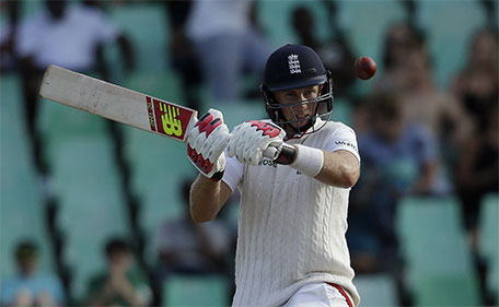 England's batsman Joe Root, plays a bouncer off South Africa's bowler Morne Morkel's delivery third day of the first test cricket match between South Africa and England, at Kingsmead in Durban, South Africa, Monday, Dec. 28, 2015. (AP)
