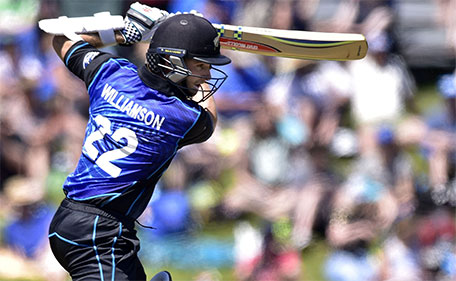 Kane Williamson of New Zealand plays a shot during the 3rd One Day International cricket match between New Zealand and Sri Lanka  at Saxton Oval  in Nelson on December 31, 2015. (AFP)