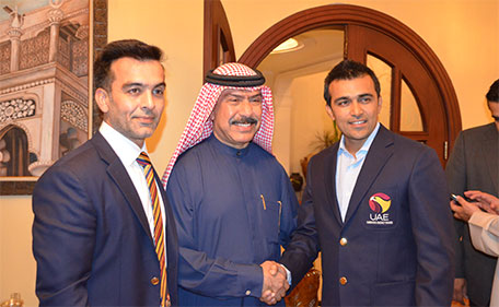 Dubai Cricket Council chairman Abdul Rahman Falaknaz (centre) congratulating Khurram Khan (right) and Mohammed Tauqir during a felicitation ceremony on Monday. (Supplied)