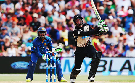 Martin Guptill of the Black Caps plays the ball away for four runs during the Twenty20 match between New Zealand and Sri Lanka at Bay Oval on January 7, 2016 in Mount Maunganui, New Zealand. (Getty Images)