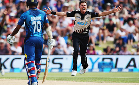 Trent Boult of the Black Caps celebrates the wicket of Tillakaratne Dilshan of Sri Lanka during the Twenty20 match between New Zealand and Sri Lanka at Bay Oval on January 7, 2016 in Mount Maunganui, New Zealand. (Getty Images)