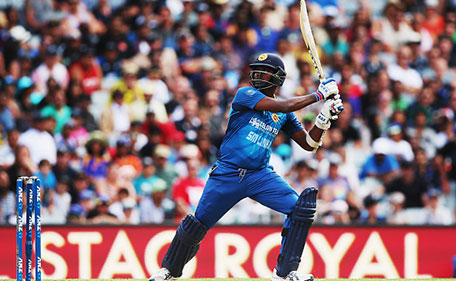 Angelo Mathews of Sri Lanka plays the ball away for four runs during the Twenty20 International match between New Zealand and Sri Lanka at Eden Park on January 10, 2016 in Auckland, New Zealand. (Getty Images)