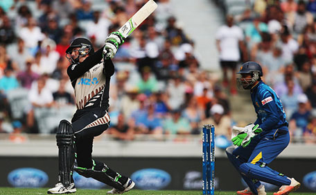 Martin Guptill of the Black Caps plays the ball away for six runs during the Twenty20 International match between New Zealand and Sri Lanka at Eden Park on January 10, 2016 in Auckland, New Zealand. (Getty Images)
