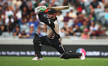 Colin Munro of the Black Caps plays the ball away for six runs during the Twenty20 International match between New Zealand and Sri Lanka at Eden Park on January 10, 2016 in Auckland, New Zealand. (Getty Images)