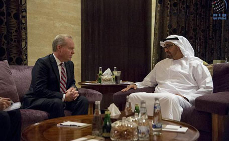 Sheikh Mohamed bin Zayed Al Nahyan meets with Thomas Kennedy Chairman and CEO of Raytheon  at the Beach Palace. (Wam)