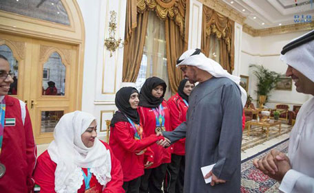 Sheikh Mohamed bin Zayed Al Nahyan yesterday received the UAE team for Paralympic Games at Al Bahr Palace. (Wam)