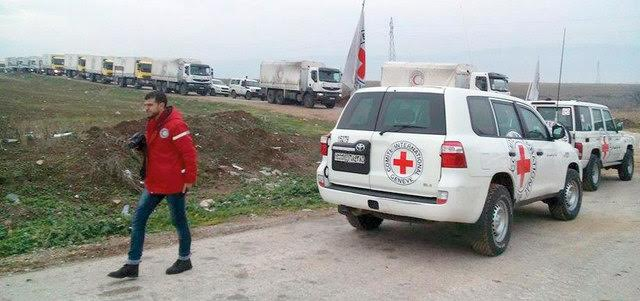 Red Cross aid convoys preparing to enter Madaya. (EAY)