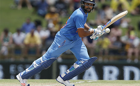India's Rohit Sharma plays a stroke during their one day international cricket match against Australia in Perth, Australia, Tuesday, Jan. 12, 2016. (AP)