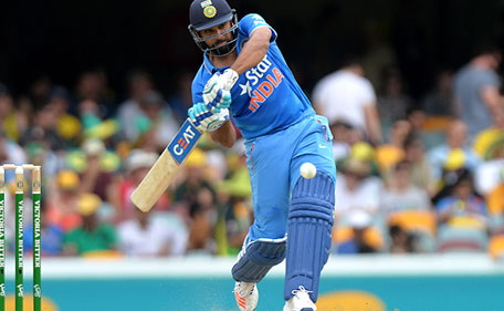 Rohit Sharma of India drives the ball during game two of the Victoria Bitter One Day International Series between Australia and India at The Gabba on January 15, 2016 in Brisbane, Australia. (Getty Images)