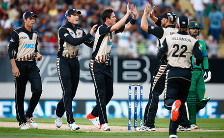 Adam Milne of New Zealand celebrates his wicket of Ahmed Shahzad of Pakistan during the first T20 match at Eden Park on January 15, 2016 in Auckland, New Zealand. (Getty Images)
