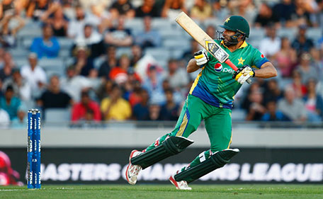 Shahid Afridi of Pakistan bats during the first T20 match at Eden Park on January 15, 2016 in Auckland, New Zealand. (Getty Images)
