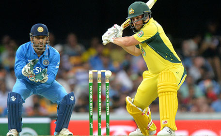 Aaron Finch of Australia plays a shot during game two of the Victoria Bitter One Day International Series between Australia and India at The Gabba on January 15, 2016 in Brisbane, Australia. (Getty Images)