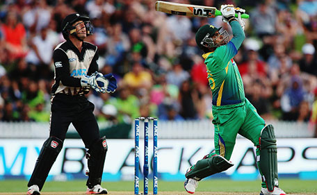 Umar Akmal of Pakistan plays the ball away for six runs during the International Twenty20 match between New Zealand and Pakistan at Seddon Park on January 17, 2016 in Hamilton, New Zealand. (Getty Images)