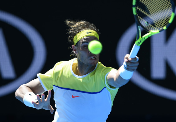 Nadal plays a forehand return during his men's singles match against compatriot Fernando Verdasco on day two of the 2016 Australian Open tennis tournament in Melbourne. (AFP)