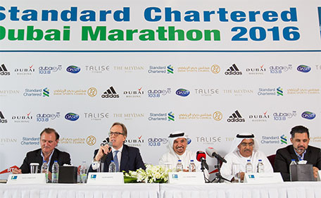 Officials at a pre-event press conference for the Dubai Marathon at Meydan on Wednesday (from left) Peter Connerton (Event Director), Julian Wynter (CEO Standard Chartered Bank UAE), Saeed Hareb (General Secretary Dubai Sports Council), Ahmed Al Kamali (President UAE Athletics Federation) and Cedric Betis (Chairman of the Wellness Committee, Dubai Holding). (Supplied)