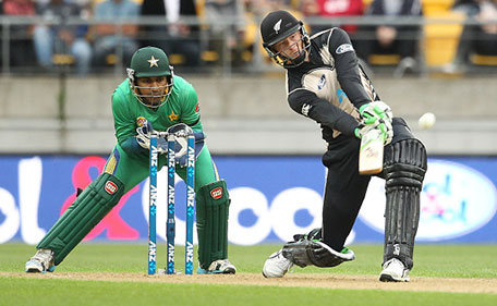 Martin Guptill of New Zealand bats during the Twenty20 International match between New Zealand and Pakistan at Westpac Stadium on January 22, 2016 in Wellington, New Zealand. (Getty Images)