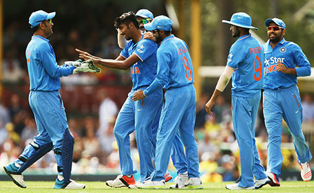 Jasprit Bumrah of India celebrates taking the wicket of Steve Smith of Australia during game five of the Commonwealth Bank One Day Series match between Australia and India at Sydney Cricket Ground on January 23, 2016 in Sydney, Australia. (Getty Images)