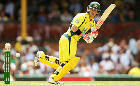 David Warner of Australia bats during game five of the Commonwealth Bank One Day Series match between Australia and India at Sydney Cricket Ground on January 23, 2016 in Sydney, Australia. (Getty Images)