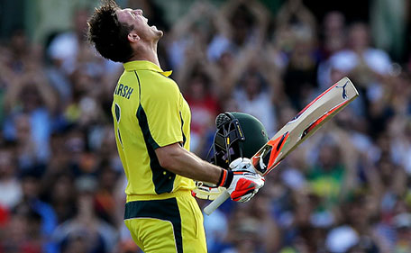 Mitchell Marsh of Australia celebrates after scoring a century during game five of the Commonwealth Bank One Day Series match between Australia and India at Sydney Cricket Ground on January 23, 2016 in Sydney, Australia. (Getty Images)