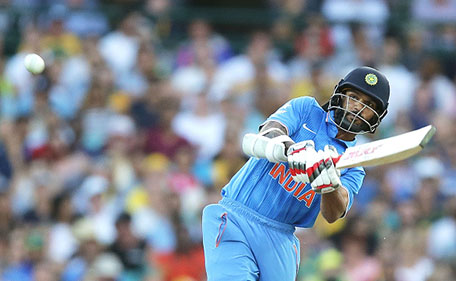Shikhar Dhawan of India hits a six during game five of the Commonwealth Bank One Day Series match between Australia and India at Sydney Cricket Ground on January 23, 2016 in Sydney, Australia. (Getty Images)