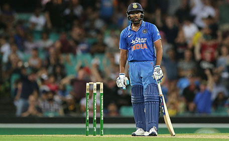 SYDNEY, AUSTRALIA - JANUARY 23: Rohit Sharma of India looks dejected after being dismissed by John Hastings of Australia on the score of 99 during game five of the Commonwealth Bank One Day Series match between Australia and India at Sydney Cricket Ground on January 23, 2016 in Sydney, Australia. (Getty Images)