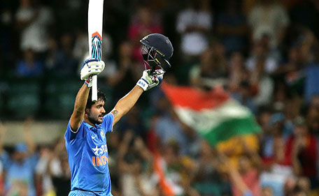 SYDNEY, AUSTRALIA - JANUARY 23: Manish Pandey of India celebrates and acknowledges the crowd after scoring a century during game five of the Commonwealth Bank One Day Series match between Australia and India at Sydney Cricket Ground on January 23, 2016 in Sydney, Australia. (Photo by Mark Metcalfe/Getty Images)