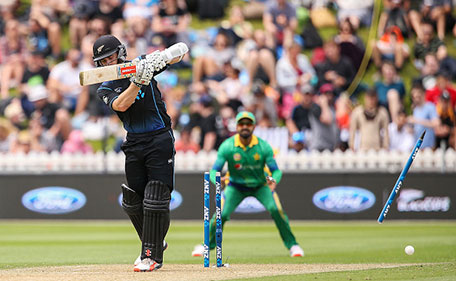 Kane Williamson of New Zealand is bowled out by Anwar Ali of Pakistan during the One Day International match between New Zealand and Pakistan at Basin Reserve on January 25, 2016 in Wellington, New Zealand. (Getty Images)