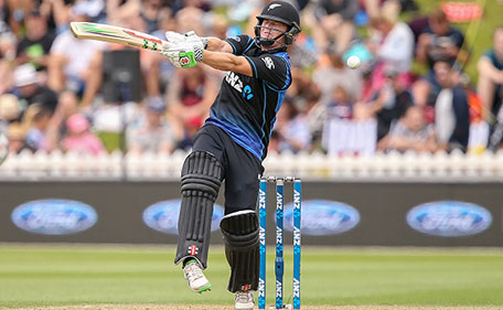 Henry Nicholls of New Zealand mis-hits the ball during the One Day International match between New Zealand and Pakistan at Basin Reserve on January 25, 2016 in Wellington, New Zealand. (Getty Images)