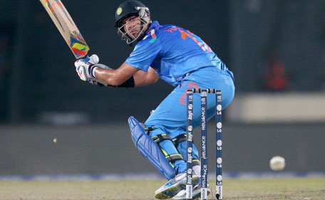Yuvraj Singh of India misses the ball during the Final of the ICC World Twenty20 Bangladesh 2014 between India and Sri Lanka at Sher-e-Bangla Mirpur Stadium on April 4, 2014 in Dhaka, Bangladesh. (Getty Images)
