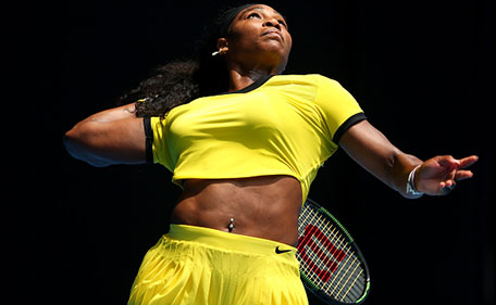 Serena Williams of the United States serves in her quarter final match against Maria Sharapova of Russia during day nine of the 2016 Australian Open at Melbourne Park on January 26, 2016 in Melbourne, Australia. (Getty Images)