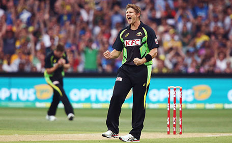 Shane Watson of Australia celebrates after taking the wicket of Rohit Sharma of India during game one of the Twenty20 International match between Australia and India at Adelaide Oval on January 26, 2016 in Adelaide, Australia. (Getty Images)