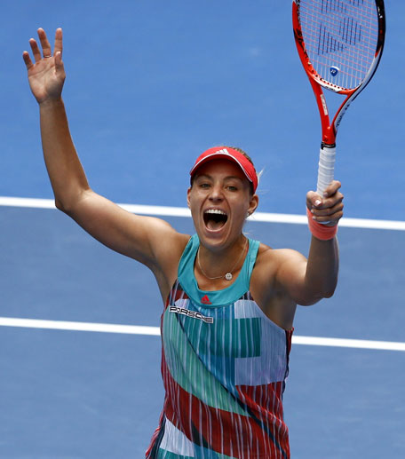 Angelique Kerber of Germany celebrates after defeating Victoria Azarenka of Belarus  in their quarterfinal match at the Australian Open tennis championships in Melbourne, Australia, Wednesday, Jan. 27, 2016.(AP