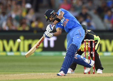 Virat Kohli of India bats during the first Twenty20 cricket international between India and Australia at the Adelaide Oval in Adelaide. (AFP)
